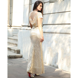 Golden Long Evening Dress with Round Neck Scoop Back