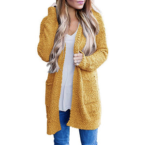 Hapqeelin Women Dotted Velvet Style Cardigan with Pocket