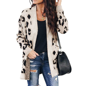Hapqeelin Women Leopard Pattern Autumn/Winter Cardigan Sweater