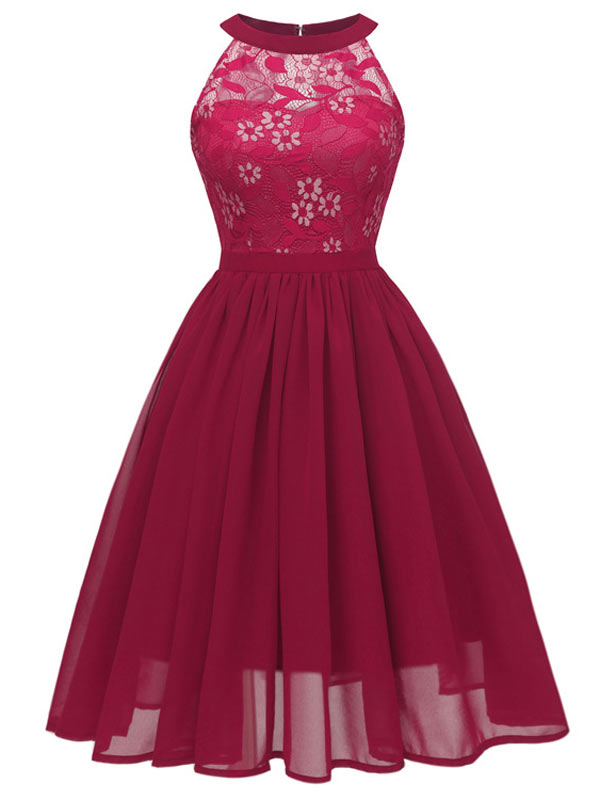 Women Flower Girl Spring/Summer HalterNeck Lace Floral Sleeveless Bridesmaid Dress
