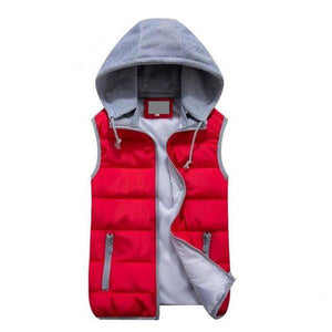 Simple Women Cotton Wool Collar Hooded Down Vest Removable Hat plus size