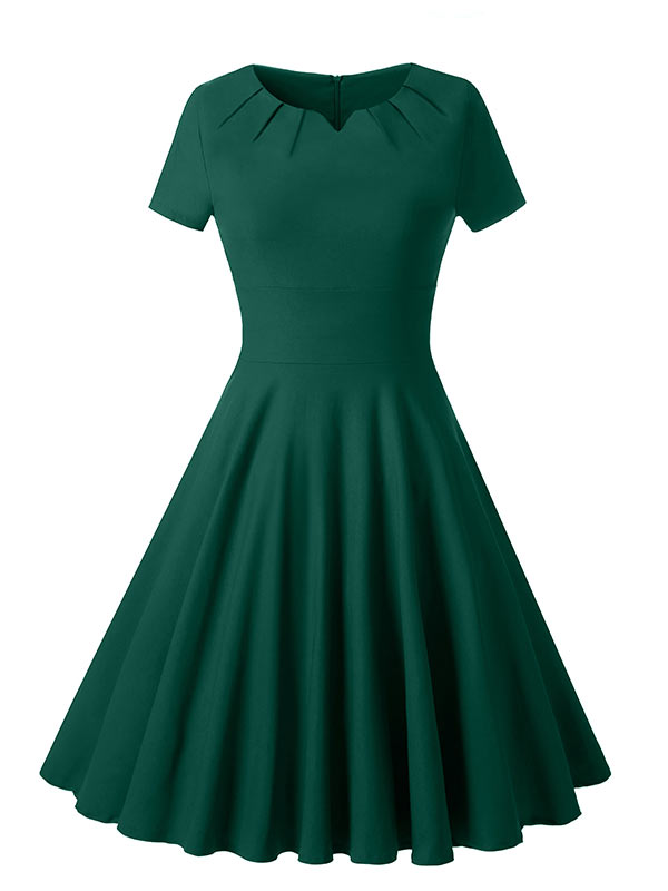Simple Vintage Dress Hapqeelin Long Green Dress