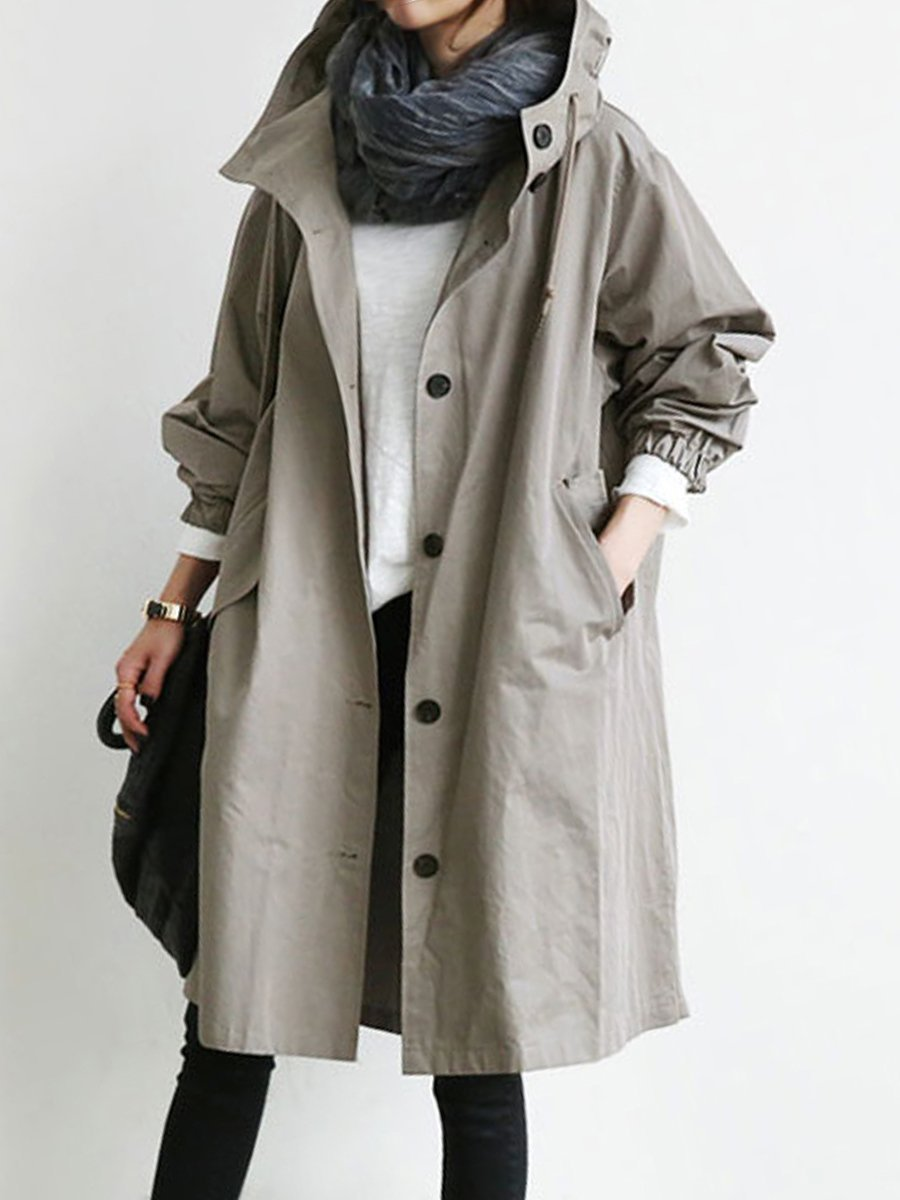 High Quality Over-sized Hooded Flap Pocket Plain Trench Coat