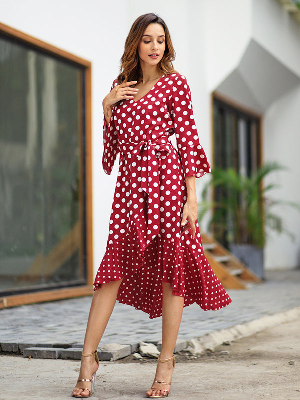 Women Casual Long Dotted Maxi Dress with Three Colors