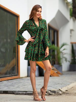 Women Spring Leopard Stone Patterned Knee-length Dresses with 3 Colors