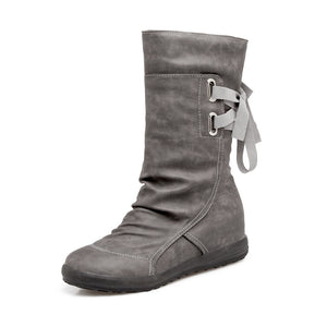 Women Suede Large Size Martin Boots with Back Lace