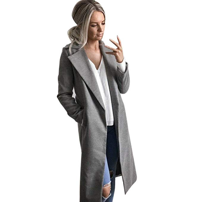 Warm Open Stitch Long Trench Coat Wool Coat