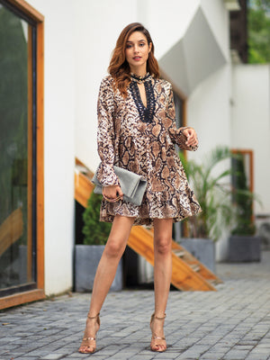 Women Spring/Autumn New Leopard Lace Patchwork Dress