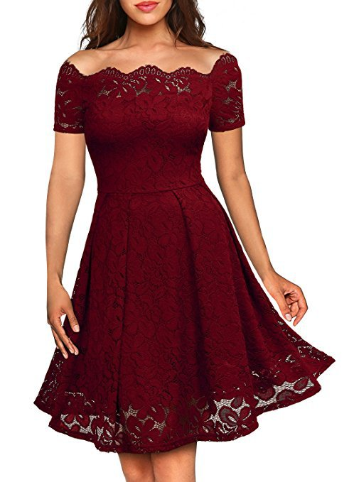 Women's Vintage Floral Lace Boat Neck Cocktail Party Swing Dress