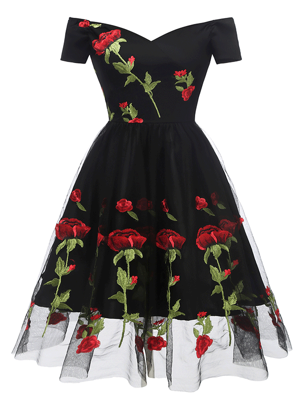 Hapqeelin Vintage Pure Color Background Rose Pattern A Line Dress