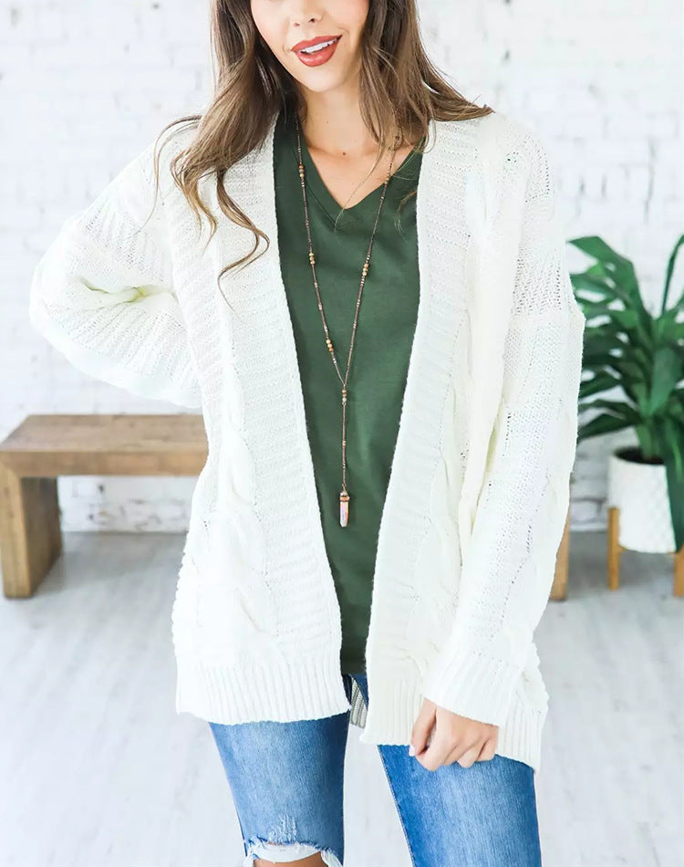 Hapqeelin Women Thick Line Pigtail Pattern Cardigan for Autumn/Winter