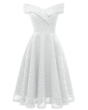 BRIDE Cocktail Dress for Women Floral Lace A Line Big Swing Off Shoulder Vintage Dress