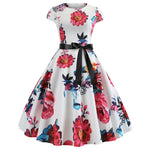 Hapqeelin Vintage Style Floral Pattern Dress Short Sleeves A Line Dress
