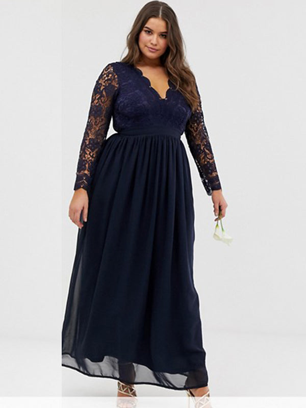 Extra-Big Size Vintage Lace Long Sleeve Hapqeelin Party Dress