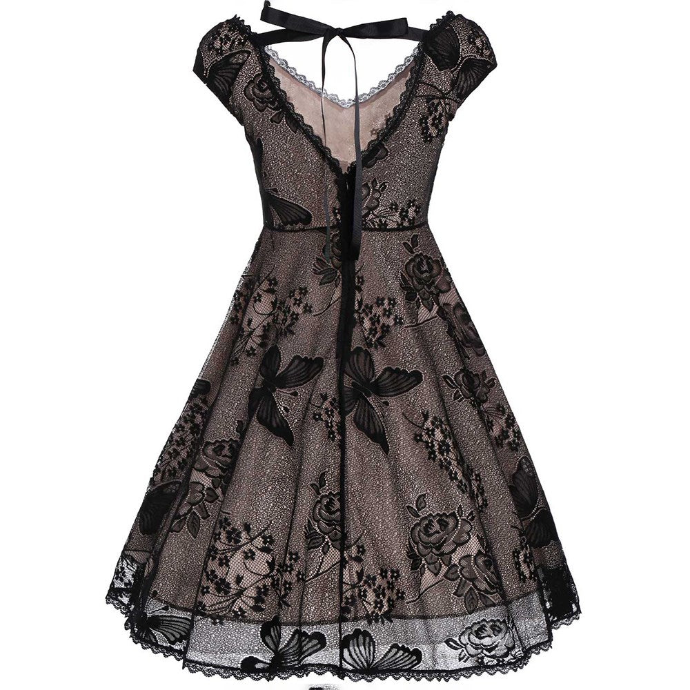 Hapqeelin Vintage Black Gothic Style Laced Dress