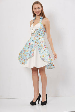 Hapqeelin Vintage Halter-Neck Bow Deco A Line Dress