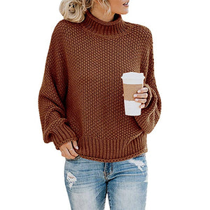 Hapqeelin Women Autumn/Winter High Collar Pure Color Sweaters