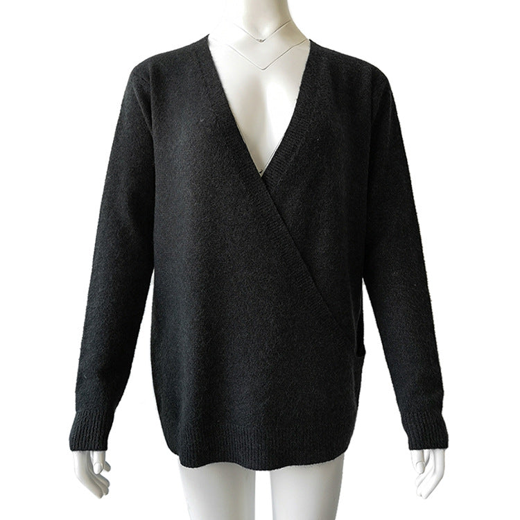 Hapqeelin Women Deep V Collar Autumn/Winter Cardigan Sweater