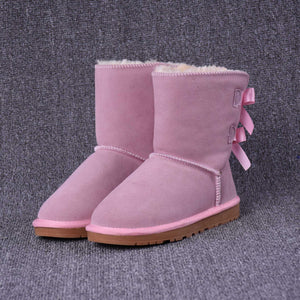 Women Fured Snow Boots With Butterfly