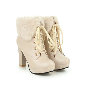 Women Winter Leather High Heel Faux Fured Lace-up Warmy Martin Boots