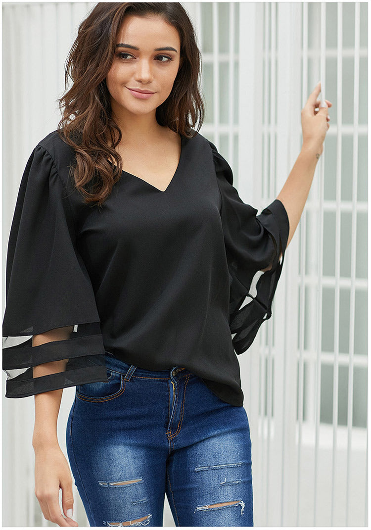 Women's 3/4th Sleeve Pure Color Mesh Cuff T Shirt