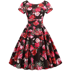 Hapqeelin Women's Round Collar Flower Patterned A Line Dresses