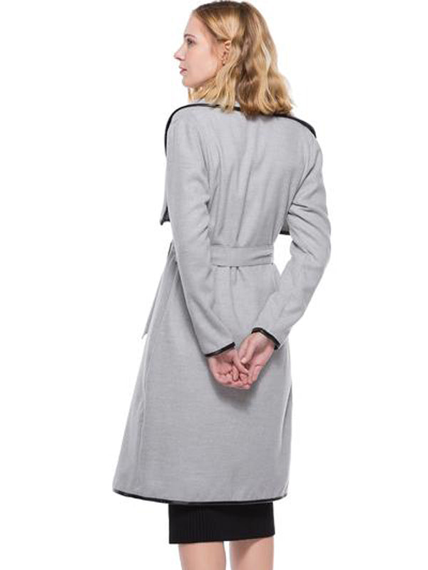 Women Windbreaker Solid Turn-Down Collar Long Sleeve Coat