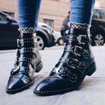 Retro PU Leather Rivet Belt Motorcycle Ankle Booties