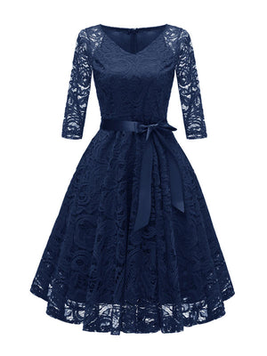 Vintage Women Party Dress Long Sleeves V Neck Lace Dress