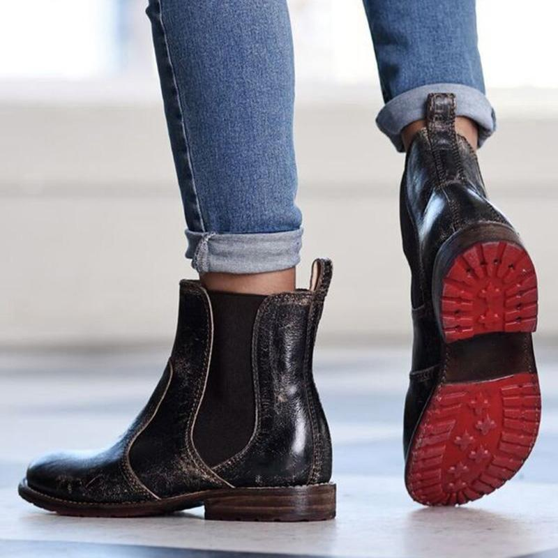 Vintage Chelsea Boots Low Heel Slip-On Booties Ankle Boots