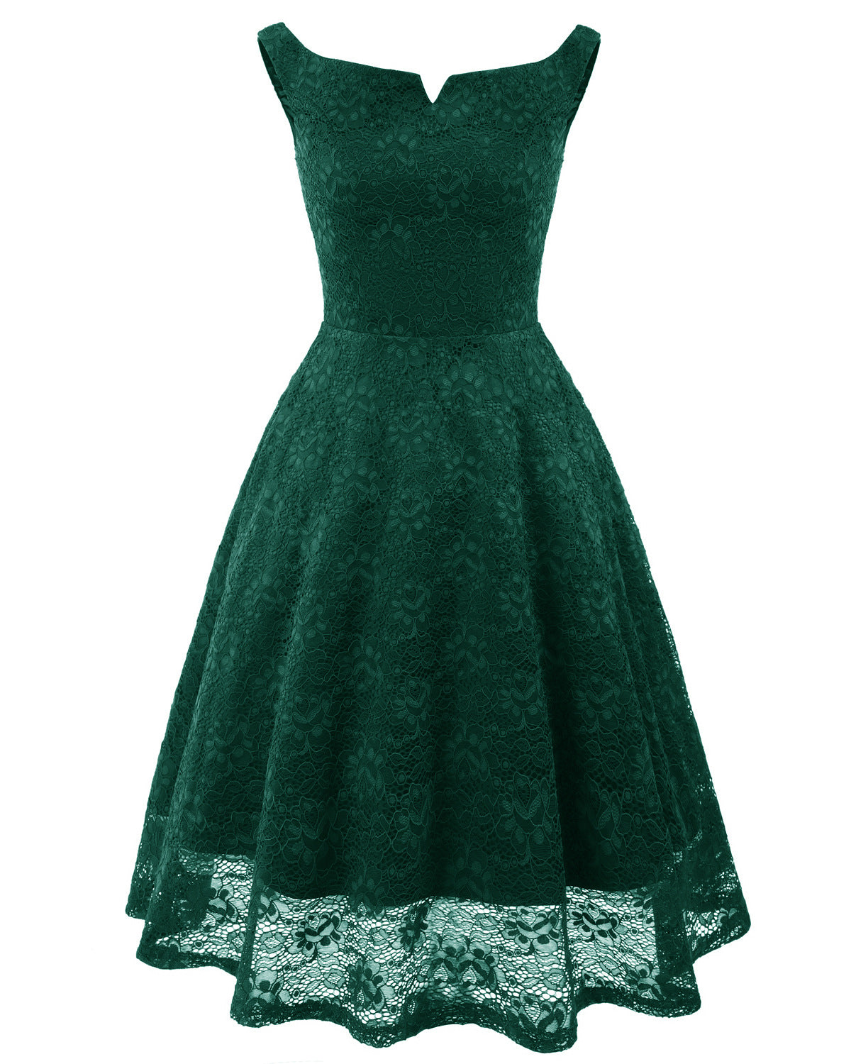 Vintage Simple V Collar Hapqeelin Dress Elegant Sleeveless 1950s Dress with Embroidery