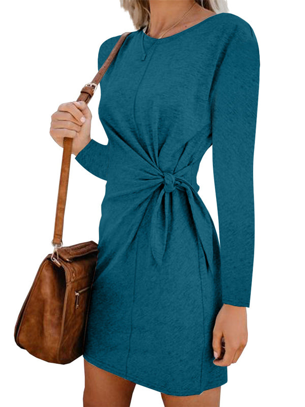Women's Long Sleeve Pure Color Autumn Casual Dress