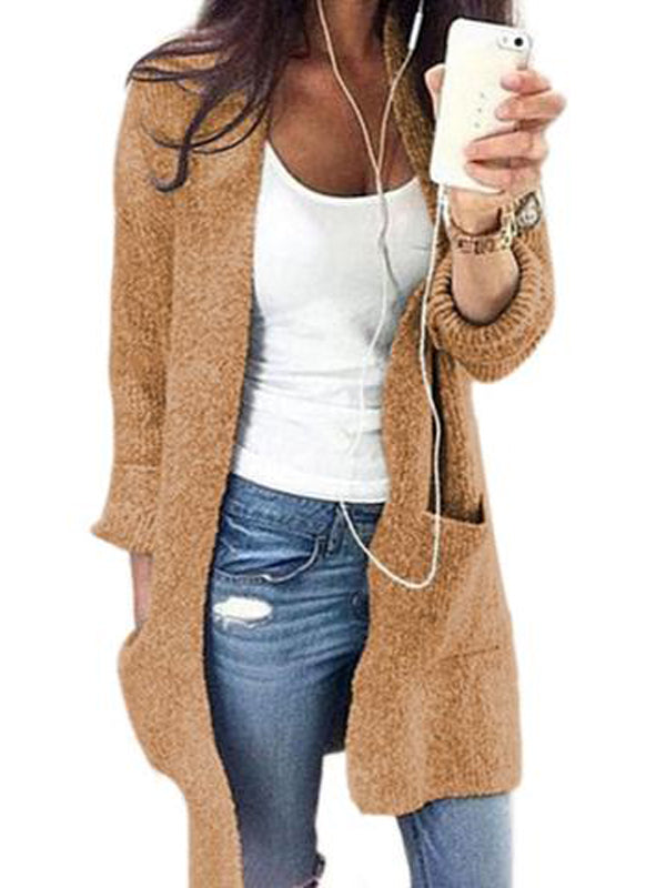 Womens Elegant Simple Cardigan with pockets 2 Colors