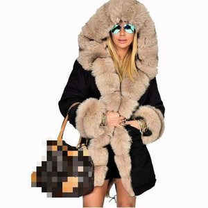 Plus Size Faux Fur Hoodie Collar Warm Padded Coat 6 Colors S-5XL