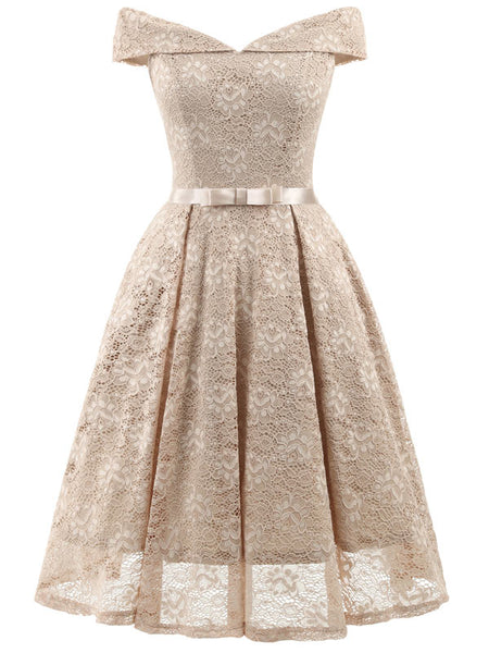 Cocktail Dress Wedding.Women S Vintage Floral Lace Off The Shoulder Prom Wedding Cocktail Party Swing Dress