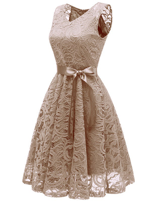 Women V Neck Sleeveless Lace Bridesmaid Dresses with Vintage Retro Ball Gown Formal Party Dresses