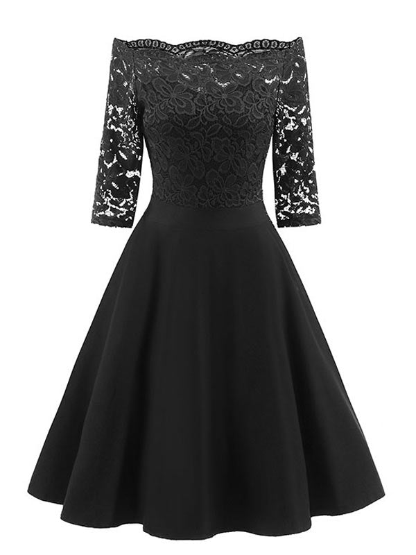 50s Retro Gown Bridesmaid Dress Upper Half Embroidery