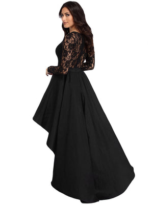 Women's Vintage Lace Long Sleeve High Low Cocktail Party Dress