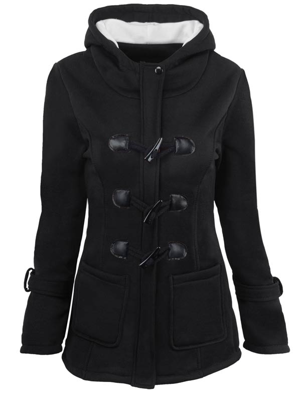 Women Buttoned Hooded Long Autumn/ Winter Wool Jacket Coat with Pockets