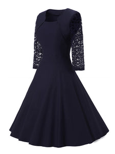 Womens Vintage Lace O Neck Three Quarter Sleeve Wedding Cocktail Party Dress