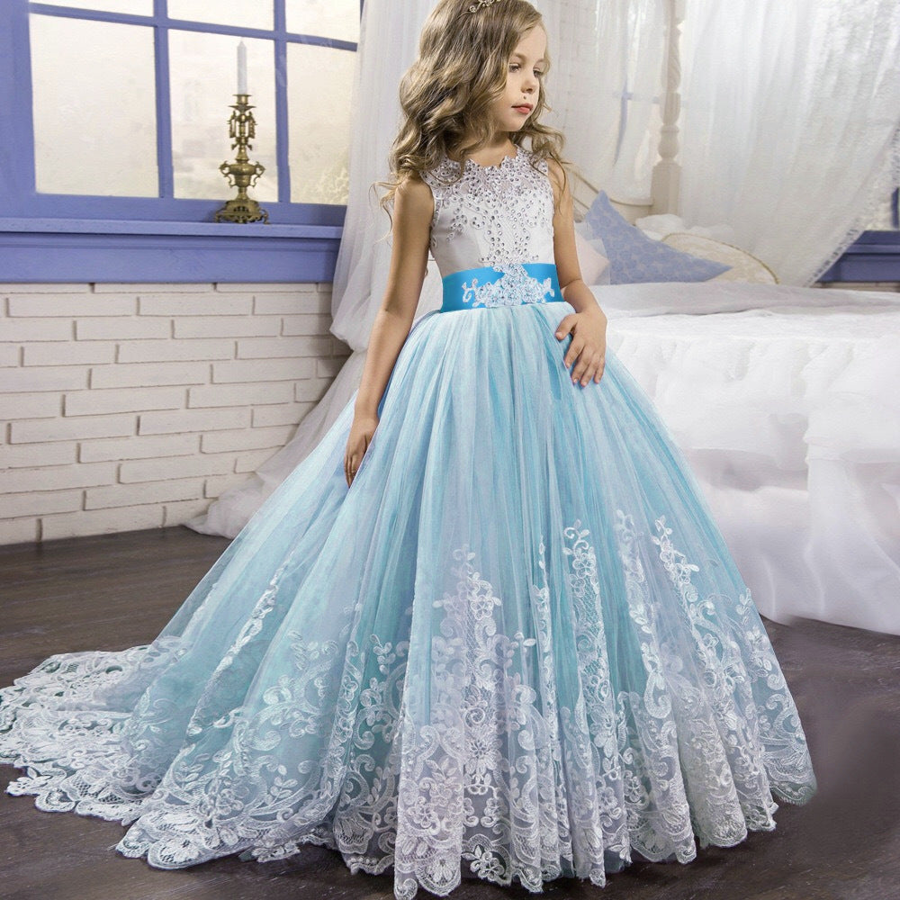 Flower Girl Dresses Off Shoulder Hapqeelin Laced Dress 13 Colors