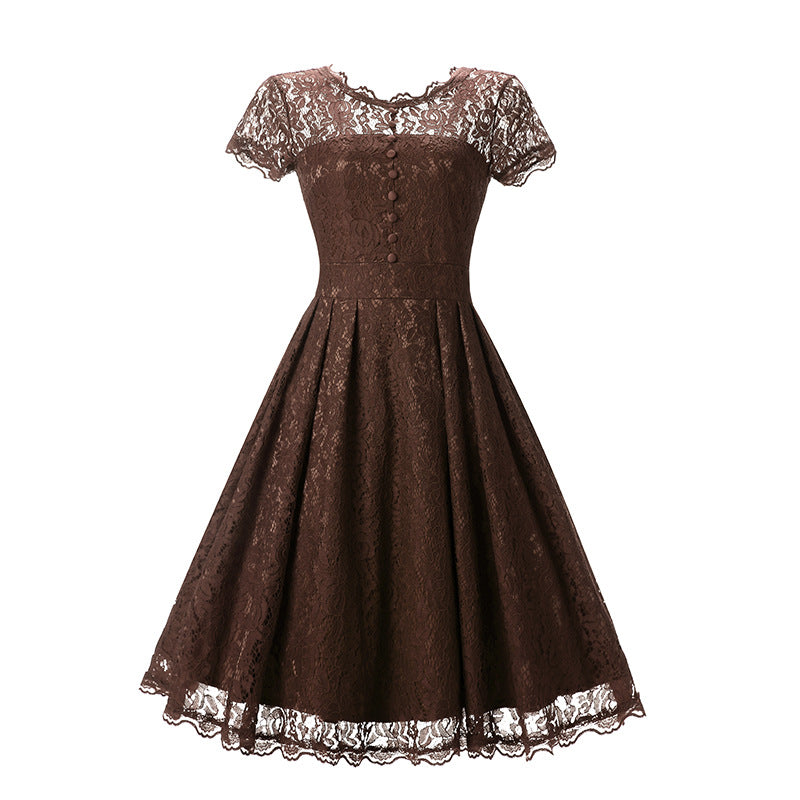 Elegant Vintage Solid Lace Pinup Tunic Short Sleeve Evening Party Dress