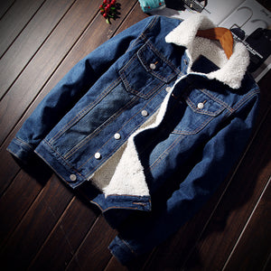 Men's Denim Jean Jacket White Collar S-6XL Autumn/Winter Outwear
