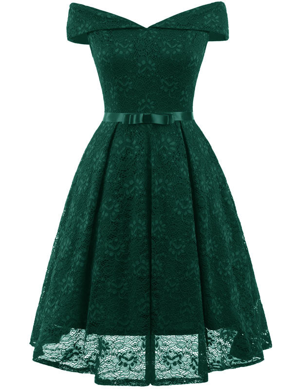 Women's Vintage Floral Lace Off The Shoulder Prom Wedding Cocktail Party Swing Dress