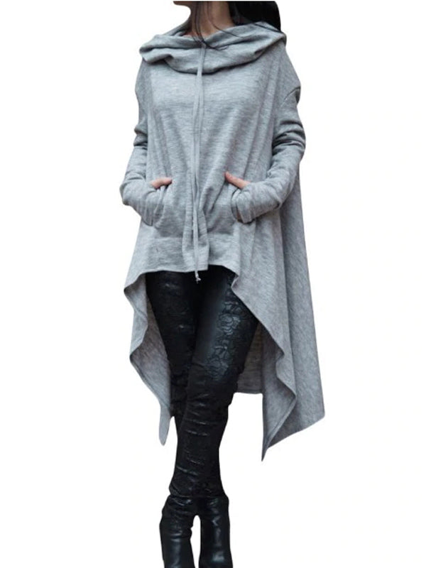 The Asymmetric Autumn Women Cap Hoodie Coat