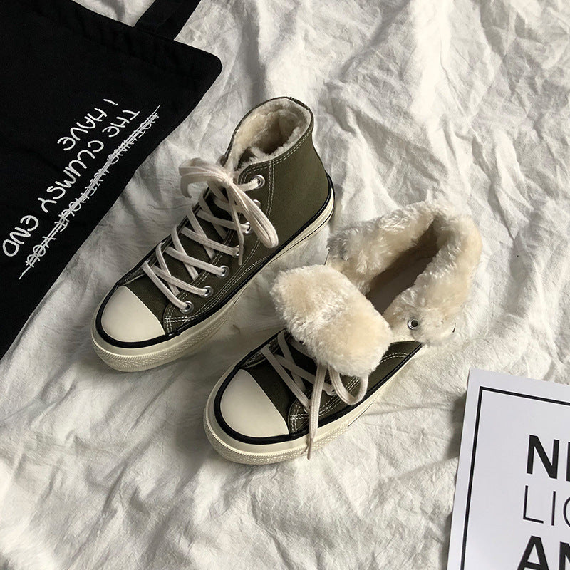 Hapqeelin Warm Suede Low/High Top Flat Heel Faux Fur Purfle Shoes 7 Colors Sneakers