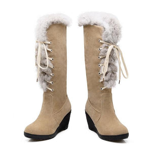 Suede Leather Faux Fur Lace-Up Wedge Knee High Boots
