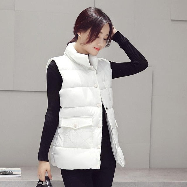 New 2017 autumn and winter women cotton vest white duck down soft warmplus size
