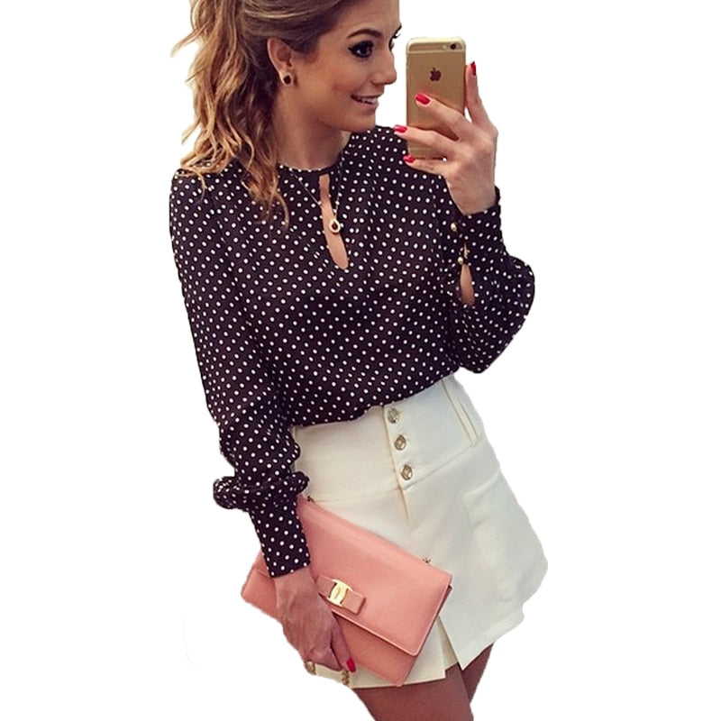 2019 Women Tops Casual O-Neck Long Sleeves Spring White Dotted Blouses Shirt
