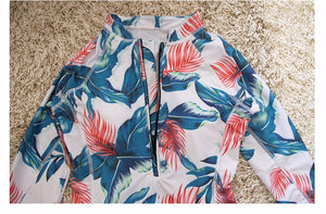 Women's Long Sleeve Floral Print One piece Swimsuit